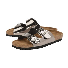 Dunlop Dionne Open Toe Flat Sandals in Silver Colour