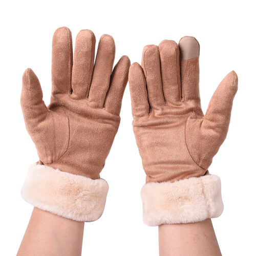 Solid Brown Gloves with Embossed Lines and Beige Faux Fur Trim (Size XS-M)