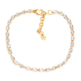Diamond Bracelet (Size 7 with Extender) in 14K Gold Overlay Sterling Silver