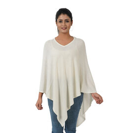 Limited Available - 100% Cashmere Pashmina Wool Poncho - Cream Colour (Free Size/103 Cm)