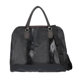 Snake Skin Pattern Tote Bag with Zipper Closure and Detachable Shoulder Strap (Size 43x23x39 Cm) - B