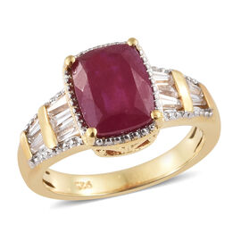 African Ruby (Cush 2.90 Ct), Natural White Cambodian Zircon Ring in 14K Gold Overlay Sterling Silver 3.500 Ct.