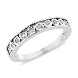 Designer Inspired- Diamond (Rnd) Half Eternity Band Ring in Platinum Overlay Sterling Silver