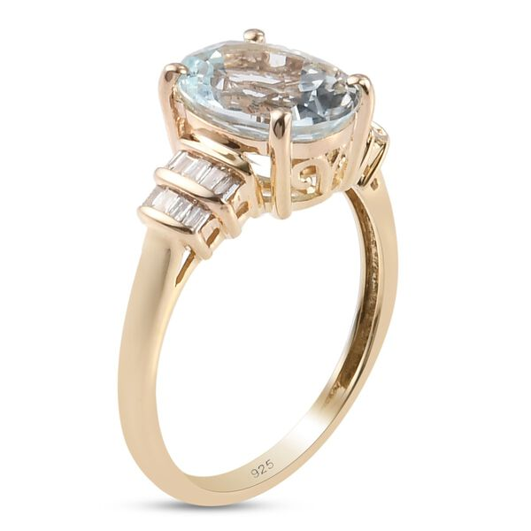 9K Yellow Gold Espirito Santo Aquamarine and Diamond Ring 2.25 Ct.