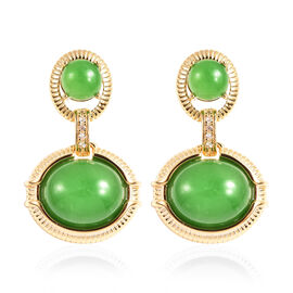 Green Jade and Natural Cambodian Zircon Dangle Earrings (with Push Back) in Yellow Gold Overlay Ster