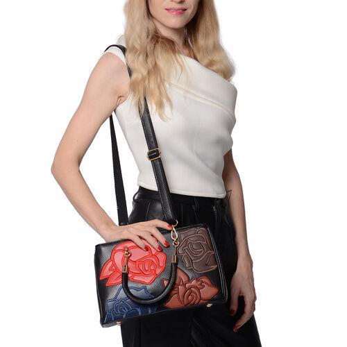 100% Genuine Leather Flower Patterned Handbag with Adjustable Shoulder Starp (30x12x19cm) - Black and Multi Colour