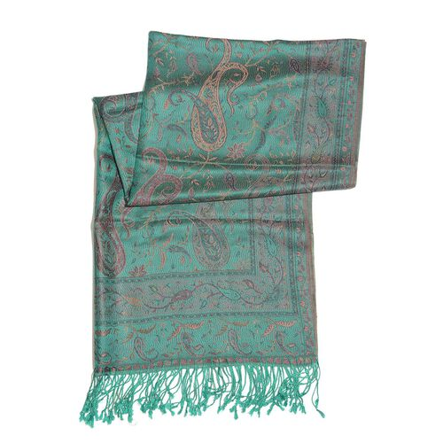 SILK MARK - 100% Superfine Silk Pink and Multi Colour Paisley and Leaves Pattern Green Colour Jacquard Jamawar Shawl with Fringes (Size 180x70 Cm) (Weight 125-140 Grams)
