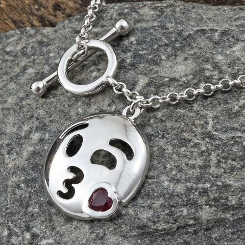 African Ruby Kissing Face with Smiling Eyes Smiley Bracelet in Plated Plated Silver 0.50 Carat (7.5 Inch) 6.03 Gms.