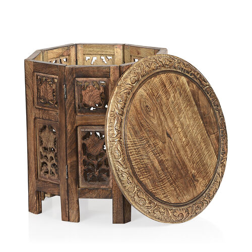 Hand Carved Solid Wood Antique Finished Side Table with Storage in Natural Colour (Size 38x38x38 cm)