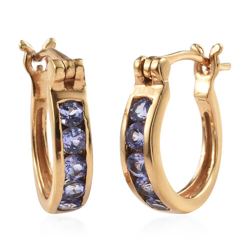 Tanzanite (Rnd) Hoop Earrings (with Clasp Lock) in 14K Gold Overlay Sterling Silver 1.000 Ct.