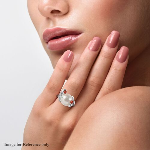 Sundays Child - Freshwater Pearl, Coral Ring in Platinum Overlay Sterling Silver, Silver wt. 5.00 Gms