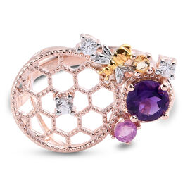 GP Italian Garden Leaf and Flower - Amethyst, Pink Sapphire and Multi Gemstone Ring in Rose Gold Ove