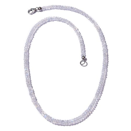 Rainbow Moonstone (Rnd) Necklace (Size 18) in Platinum Overlay Sterling Silver 54.590 Ct.