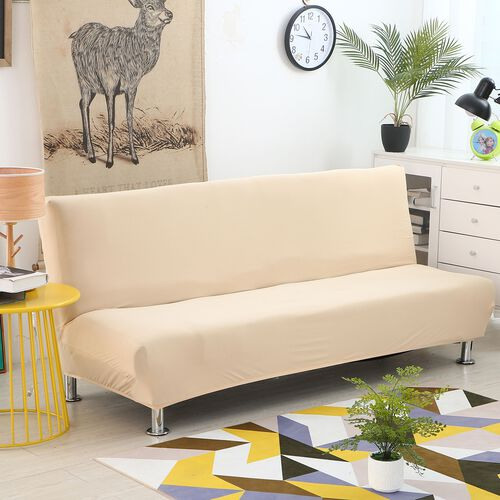 Solid Colour Washable Stretch Sofa Bed Cover (Size 150-200 Cm) - Beige