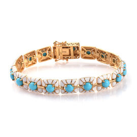 8 Carat Arizona Sleeping Beauty Turquoise Enamelled Bracelet in Gold Plated Silver 7 Inch