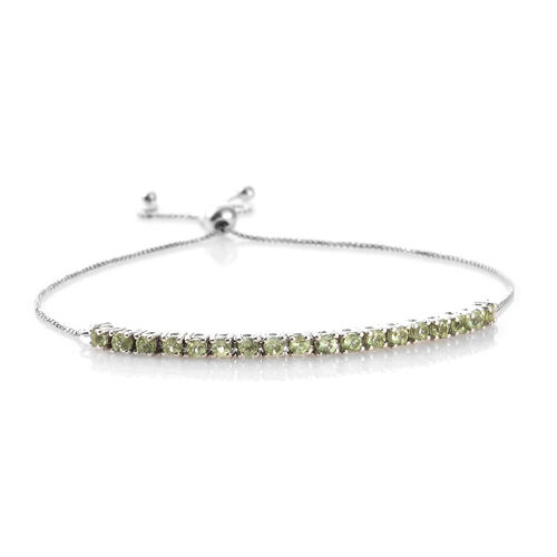 Hebei Peridot (1.25 Ct) Platinum Overlay Sterling Silver Bracelet (Size 7.5)  1.250  Ct.