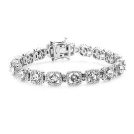 J Francis White Crystal from Swarovski Tennis Design Bracelet in Platinum Plated 7.5 Inch