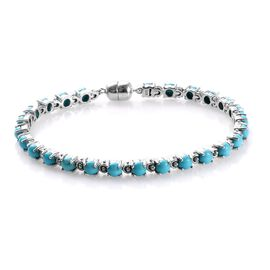Arizona Sleeping Beauty Turquoise (Rnd) Bracelet (Size 7) in Platinum Overlay Sterling Silver 8.25 C