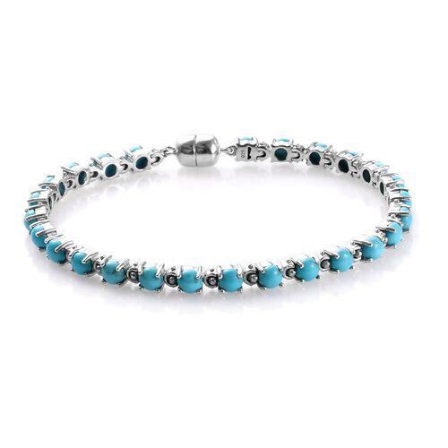 Arizona Sleeping Beauty Turquoise (Rnd) Bracelet (Size 7) in Platinum Overlay Sterling Silver 8.25 C