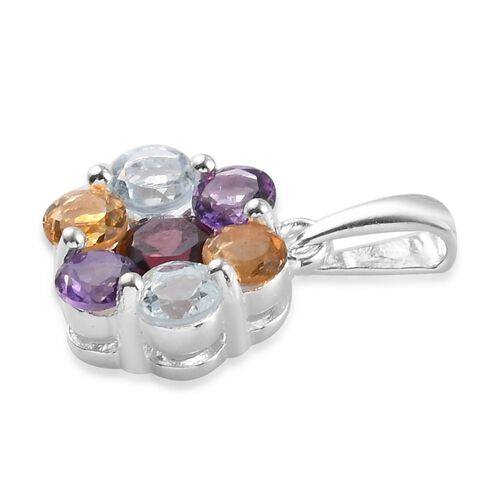 Citrine, Bolivian Amethyst, Skyblue Topaz and Rose Garnet  Floral Pendant in Sterling Silver 1.52 Ct.