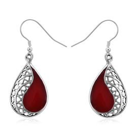 Royal Bali Sponge Coral Drop Hook Earrings in Sterling Silver