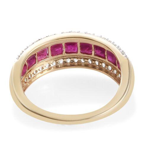 9K Yellow Gold AAA Burmese Ruby (Sqr), Natural Cambodian Zircon Ring 1.85 Ct.