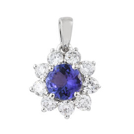 RHAPSODY 950 Platinum AAAA Tanzanite (Rnd), Diamond Pendant  1.750 Ct.