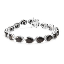 Elite Shungite (Pear) Bracelet (Size 8) in Platinum Overlay Sterling Silver 14.50 Ct, Silver wt 15.0