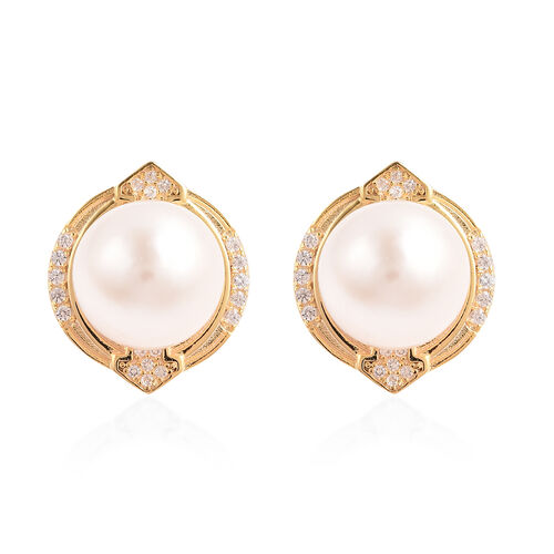 Edison Pearl and Natural Cambodian Zircon Stud Earrings (with Push Back) in Yellow Gold Overlay Ster