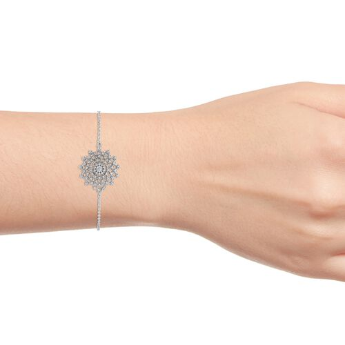 ELANZA Simulated Diamond (Rnd) Bracelet (Size 6.5 with 1 Inch Extender) in Rhodium Overlay Sterling Silver