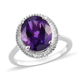 Moroccan Amethyst and Diamond Halo Ring in Platinum Overlay Sterling Silver 3.50 Ct.