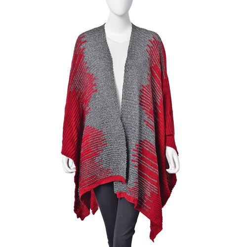 Designer Inspired Sparkle Red Knitted Kimono (Size 115X60 Cm)