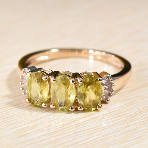 Collectors Edition 9K Yellow Gold Sava Sphene (Ovl 6x4 mm), Diamond (I2/G-H) Ring 1.750 Ct.