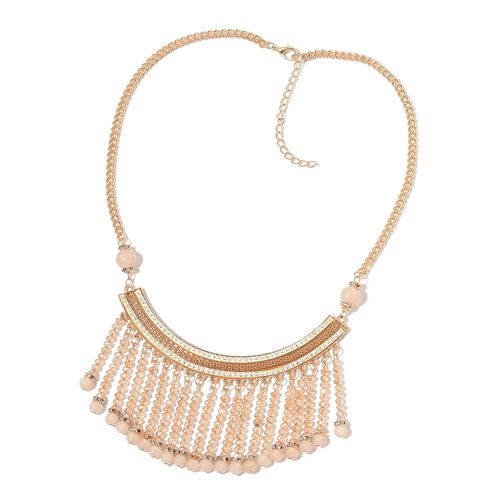 Simulated Diamond, Simulated White Moonstone and White Austrian Crystal Necklace (Size 20 with 2 inch Extender) in Yellow Gold Tone