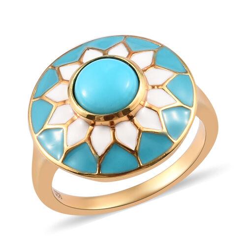 Sleeping Beauty Turquoise Enamelled Floral Ring in 14K Gold Plated Sterling Silver,1.25 Ct