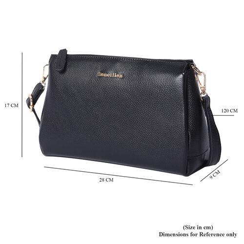 SENCILLEZ 100% Genuine Leather Crossbody Bag with Adjustable Shoulder Strap and Zipper Closure (Size 28x9x17cm) - Black