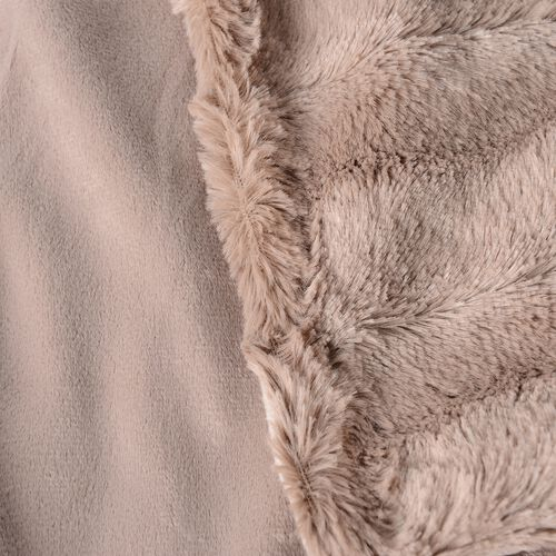 Set of 2 - Brown Colour Faux Fur and Mink Cushion Cover with Zipper (Size 45.72x45.72 Cm)