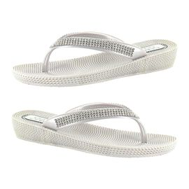 Ella Diamante Toe Post Sandals in Silver Colour