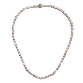 20 Carat Ethiopian Opal and Diamond Tennis Necklace in Gold Plated Sterling Silver 23.39 Grams