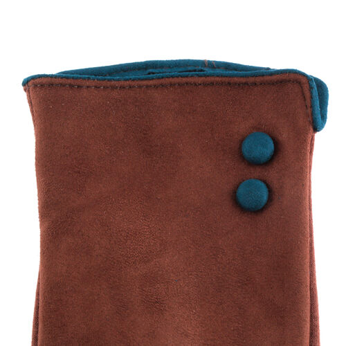 Brown and Green Colour Felt Gloves (Size 23 Cm)