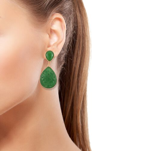 Limited Edition - Green Jade Drop Earrings (with Push Back) in 14K Yellow Gold Overlay Sterling Silver 32.800 Ct.
