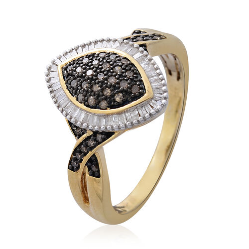 Natural Champagne Diamond (Rnd), White Diamond Ring in Black Rhodium and 14K Gold Overlay Sterling Silver 0.500 Ct.