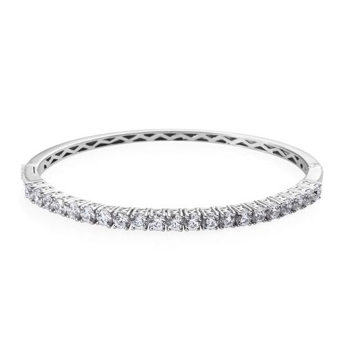 J Francis Platinum Overlay Sterling Silver (Rnd) Bangle (Size 7.5) Made with SWAROVSKI ZIRCONIA, Sil