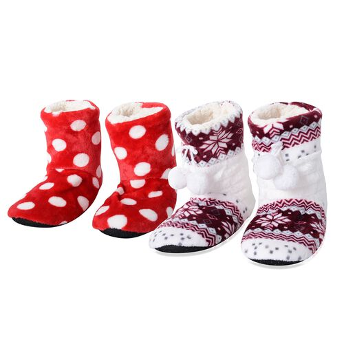 Set of 2 Pairs - Warm and Soft Red, Wine and White Colour  Polka Dot Pattern Faux Fur Booties with Sherpa Lining (Size 6)