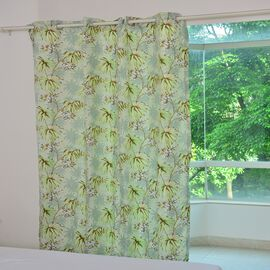 Green, Cream and Multi Colour Floral and Tree Pattern Double Side Curtain (Size 230X167 Cm)