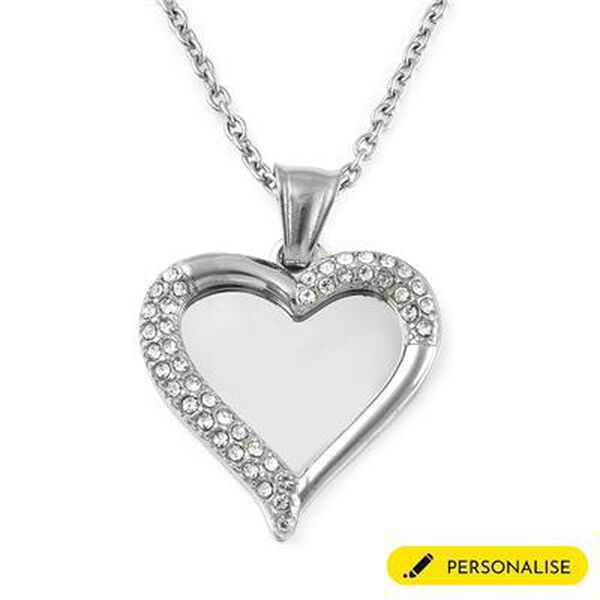 """Personalised Engravable Layered Heart and Crystal  Necklace, Size 20"""" in silver tone"""