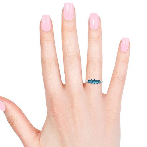 AA Malgache Neon Apatite (Ovl) 5 Stone Ring in Platinum Overlay Sterling Silver 1.250 Ct.