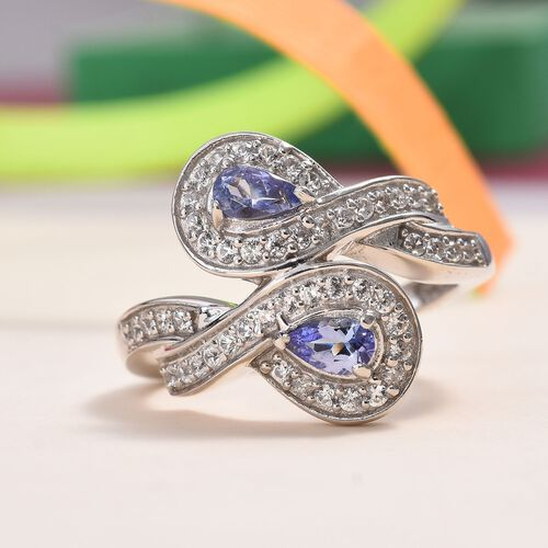Tanzanite (Pear), Natural Cambodian Zircon Ring in Platinum Overlay Sterling Silver 1.24 Ct.