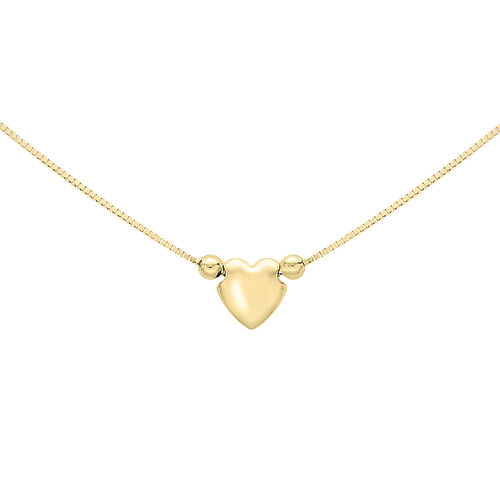 Italian Made Heart Charm Box Necklace in 9K Gold Size 16.5 Inch