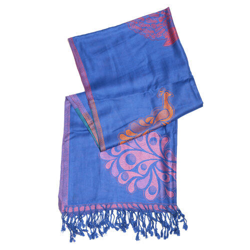 Blue, Pink and Multi Colour Peacock Pattern Scarf with Tassels (Size 200X70 Cm)